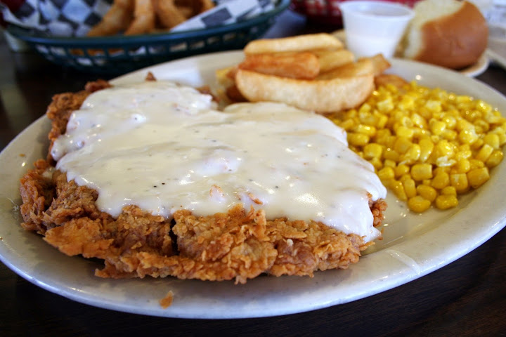 Chicken Fried Steak, Corn and French Fries