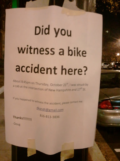 sign asking for help from witnesses