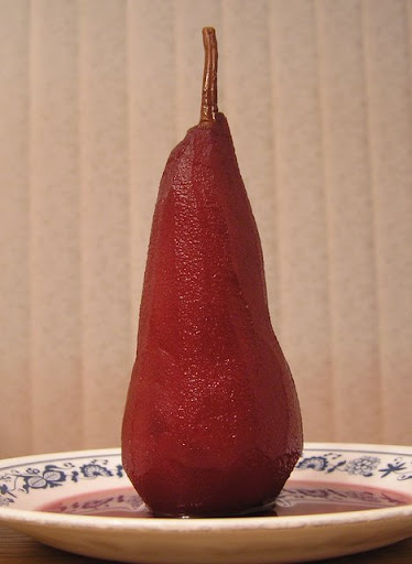 Pear in red wine