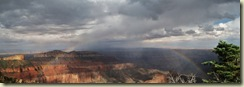 09 Rainbow in front of Saddle Mt from Point Imperial Walhalla Plateau GRCA AZ pano (800x278)