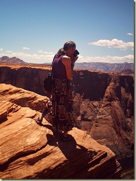 Gaelyn photographing Horseshoe Bend Page Arizona