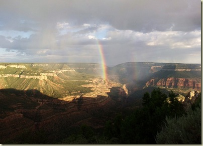 Double rainbow over Crazy Jug Canyon from Crazy Jug Point Kaibab National Forest Arizona