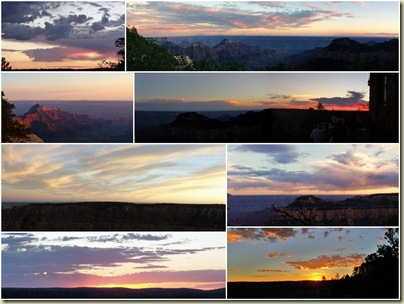 Collage of sunsets North Rim Grand Canyon National Park Arizona