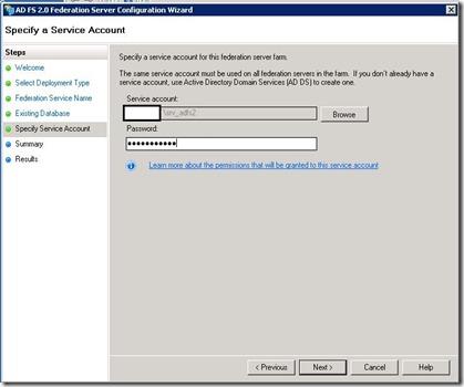ADFS - management - wizard - service account - markup
