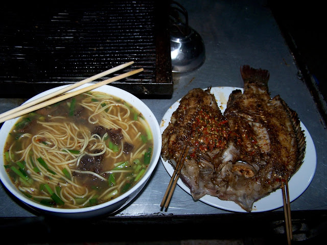 Fish on a stick, big noodles