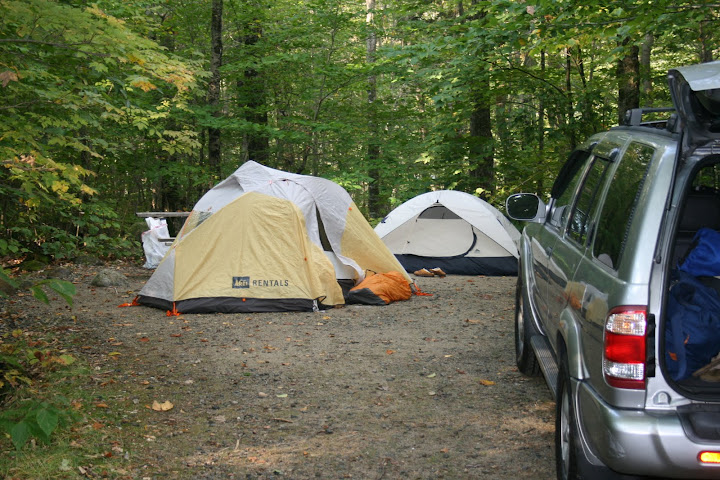 """Nick snagged this """"REI Rental"""" tent from a swap sale for super cheap, excellent purchase."""