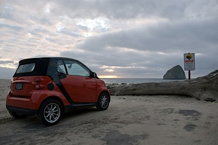 smart car at Pacific City, photo by Nathan Pryor