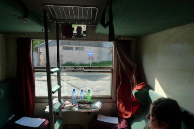 Our sleeper train from Gdansk to Krakow, Poland. See if you can spot me.