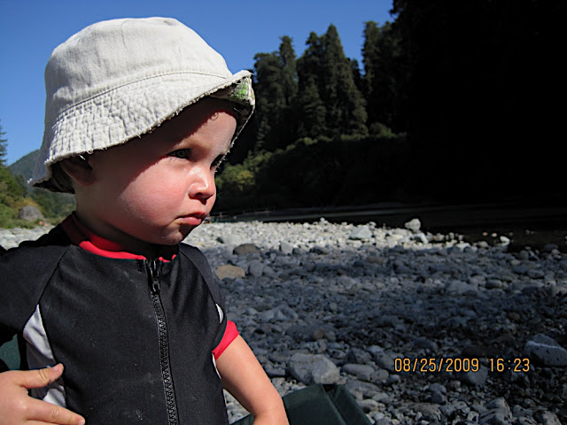 Owen enjoys the river