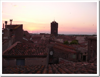 The view from the terrace at dusk