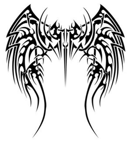 tribal angel wings tattoos