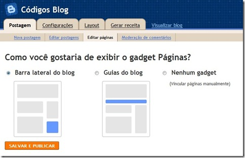 como colocar pagina estaticas blogger