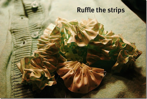 green sweater ruffle strips