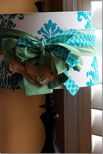 damask lampshade with bird
