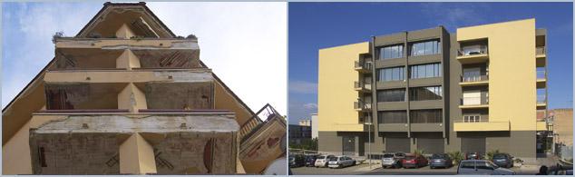 Crime - Mafia - Schlechtes und gutes Beispiel (Bagheria) für die Qualität moderner Architektur in Sizilien
