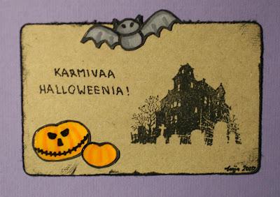 Lilapohjainen Halloween -kortti