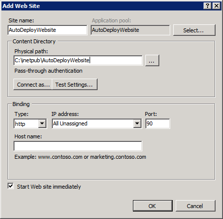 Adding a new website to IIS7
