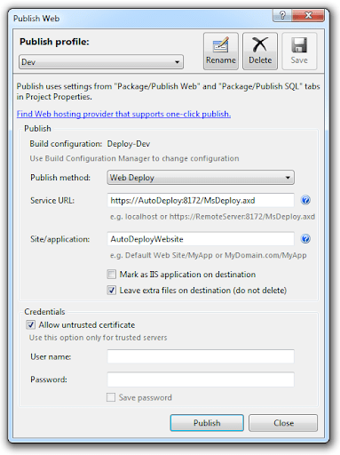 Publish profile in Visual Studio using Web Deploy