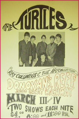 Poster advertising The Turtles in concert at Donovan's Reef, March 3 and 4, 1967.