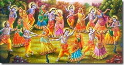 Krishna dancing with the gopis