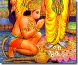 Hanuman worshiping the lotus feet of Rama