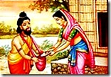 Sita Devi being charitable