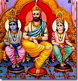 Dashratha with sons Rama and Lakshmana