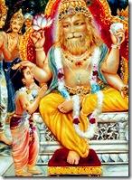 Prahlada Maharaja praying to Lord Narasimha Deva