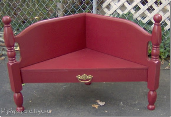 red corner bench made from full size foot board