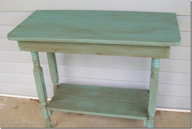 glazed turquoise table