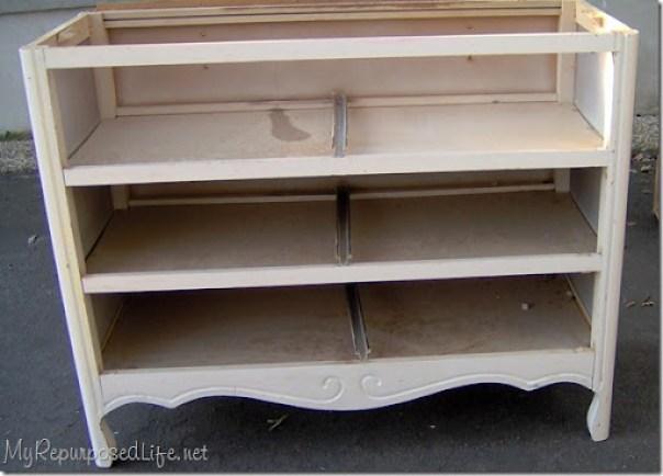 repurposed dresser into bench