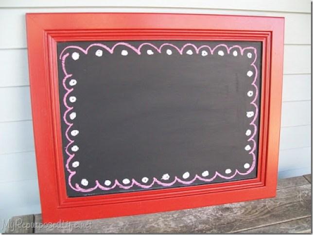 cabinet door repurposed into chalkboard