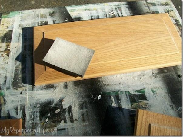 sanding oak cabinets