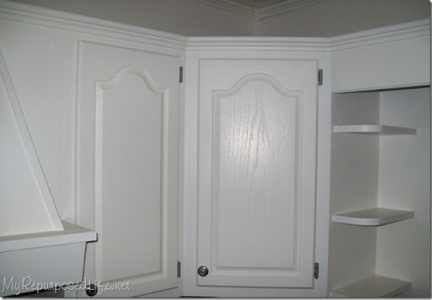 white painted cupboards