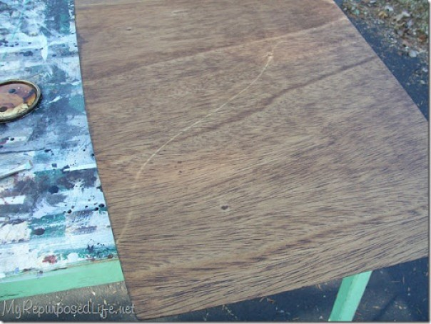 scratch on table top visible after staining