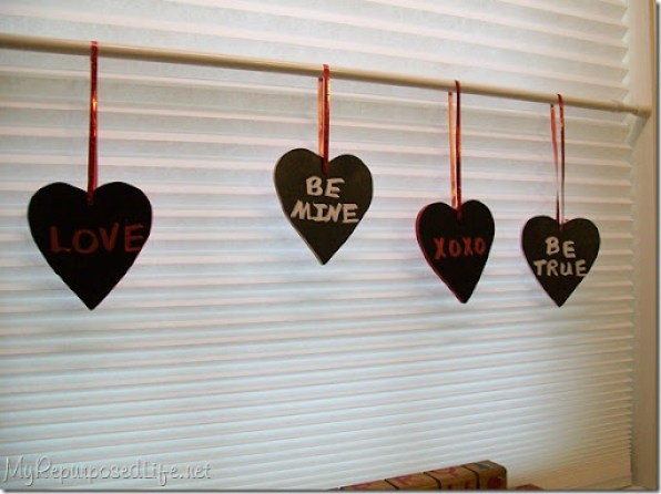 using chalk ink on chalkboard hearts
