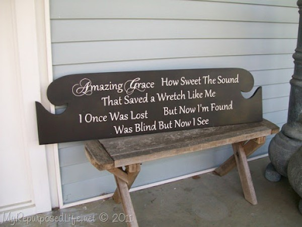Amazing Grace sign from headboard MyRepurposedLife.com