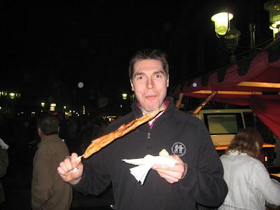 D trying turkey on a stick