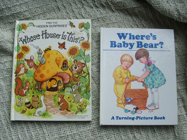 The twins received old childrens books with adorable illustrations!