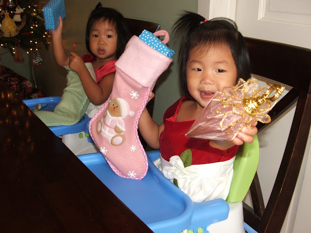 the twins digging into their stockings