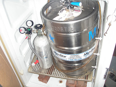 CO2 tank, regular, splitter, and a keg of Great Divide Hibernation