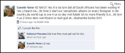 Nene Sanela TimeToStartOurXenophobicAttacksEveryForeignerJune172010Facebook