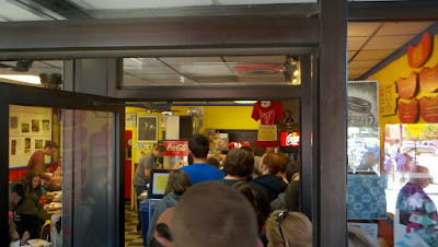 line inside Hot Doug's