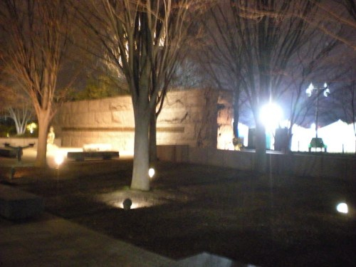 The entrance of the Roosevelt Memorial, tonight adjacent to a strange cluster of unidentified tents.