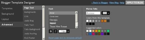 Blogger Template Designer - Advance Options