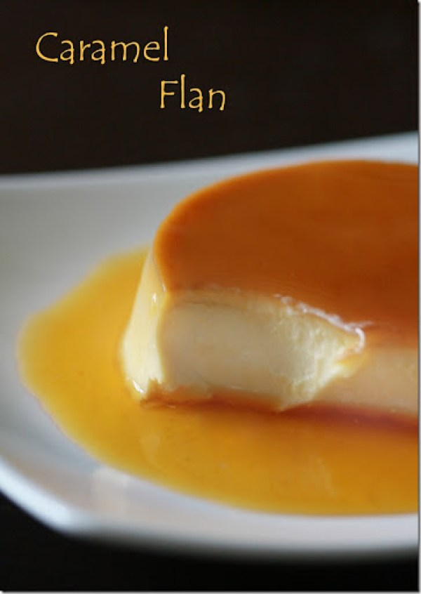 Caramel flan in a bowl topped with a sweet caramel topping