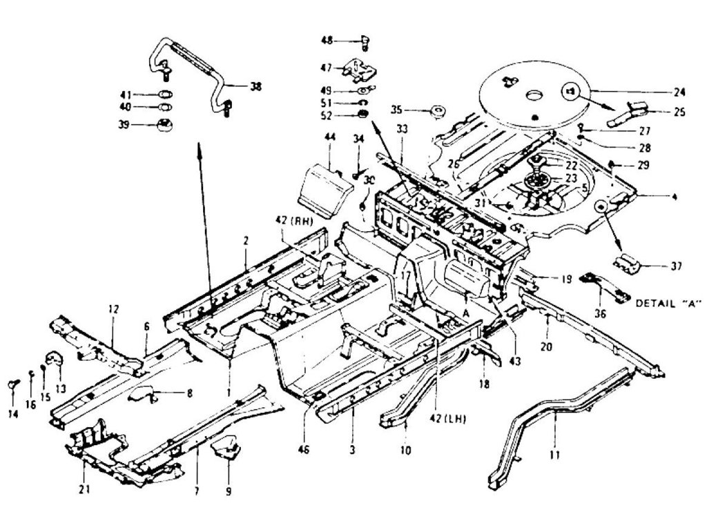 Datsun 240z Floor Panel Amp Spare Tire Cover To Jul 73