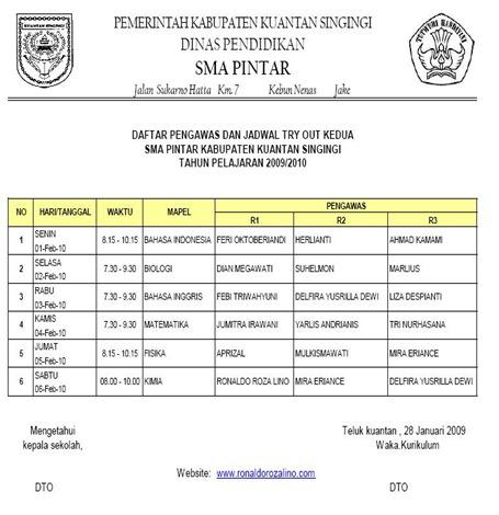 Jadwal Try Out Tahap ke 2 di SMAN Pintar Kuantan Singingi