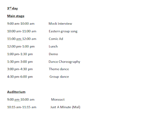 Utsav 10 - On-Stage Events Schedule Part 3 of 3