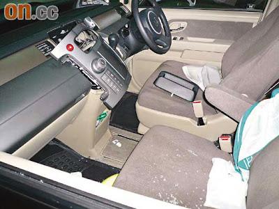 黃小姐座駕的車窗被打破車內音響被賊人撬開偷走